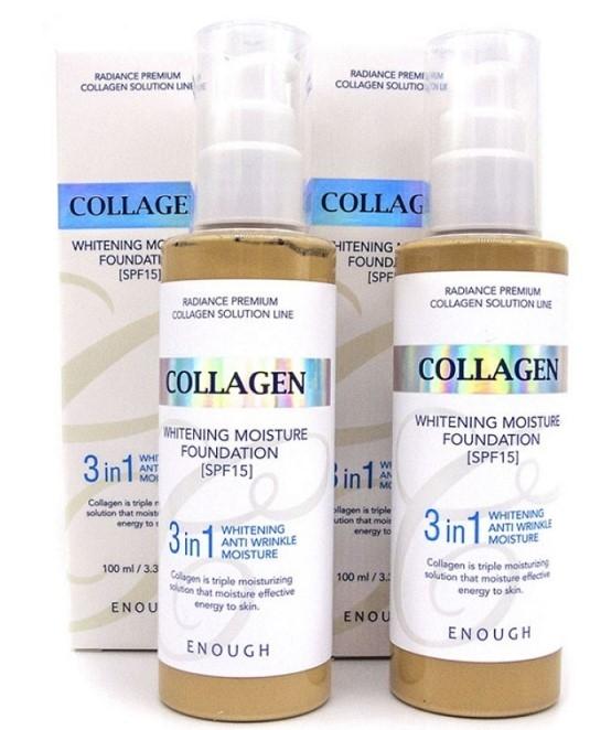 Тональный крем с коллагеном и гиалуроновой кислотой 3 в 1 Enough Collagen Whitening Moisture Foundation SPF15 #21 Натуральный бежевый 100 мл