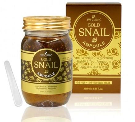 Cыворотка с муцином улитки 3W CLINIC Gold Snail Ampoule (250 мл)