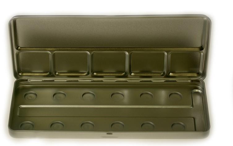 Пенал-палитра металлическая для акварели на 12 позиций