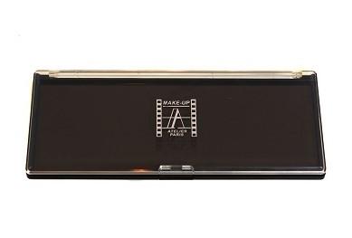 Палитра-кейс магнитный 23х10 см для пудр/теней/румян, черная с прозрачной крышкой