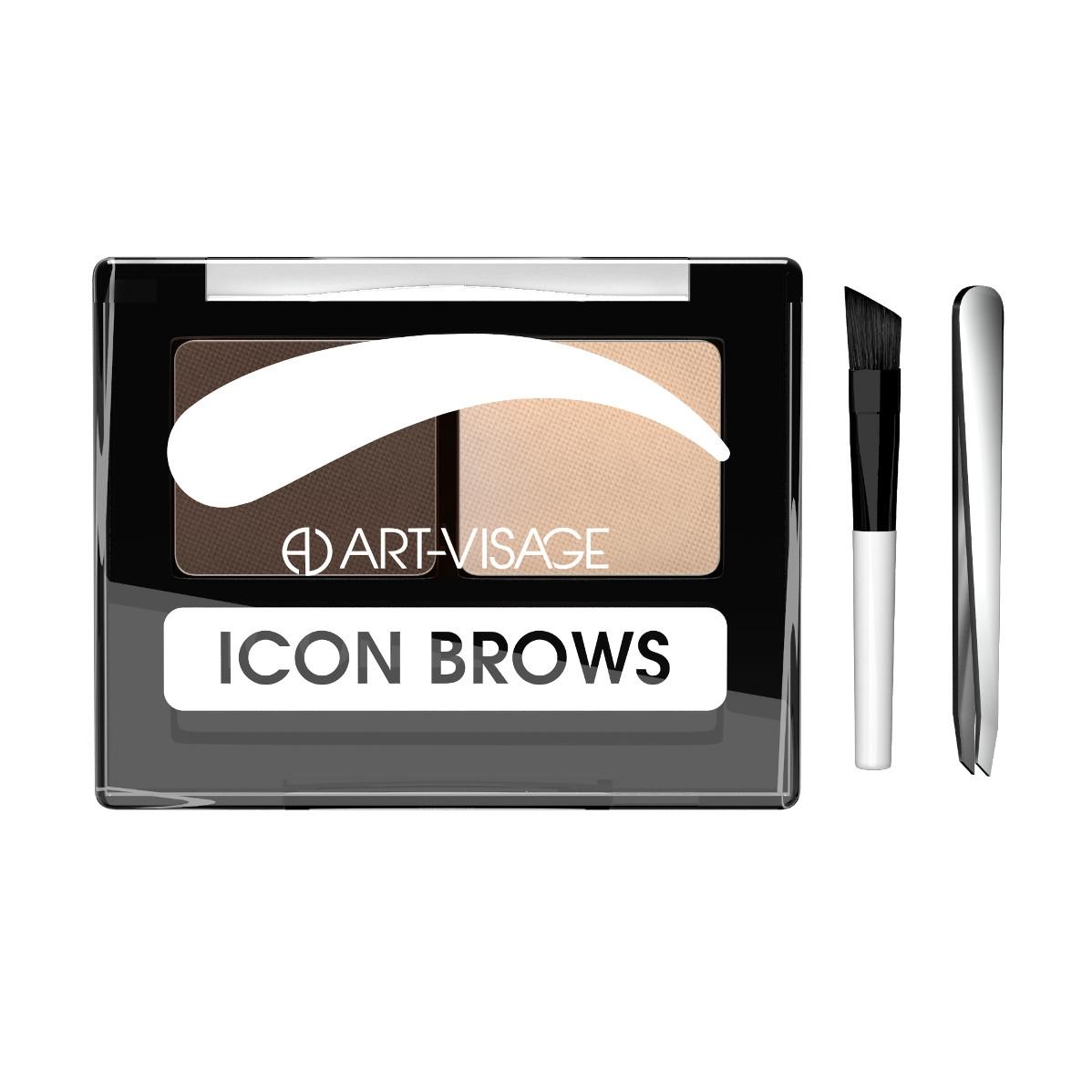 Двойные тени для бровей Art-Visage ICON BROWS с кисточкой и пинцетом 423