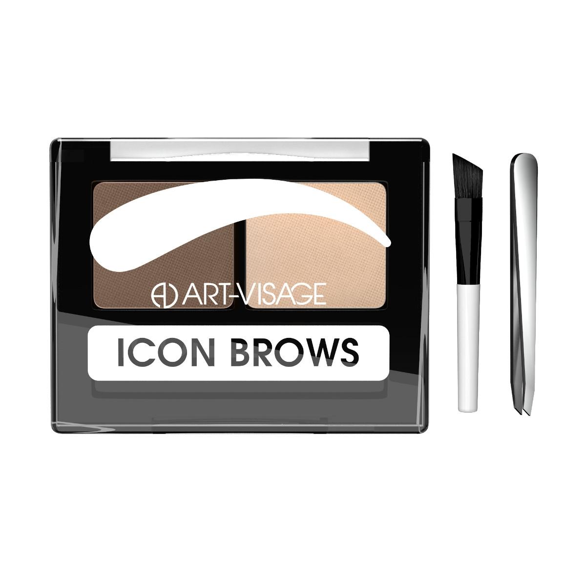 Двойные тени для бровей Art-Visage ICON BROWS с кисточкой и пинцетом 422