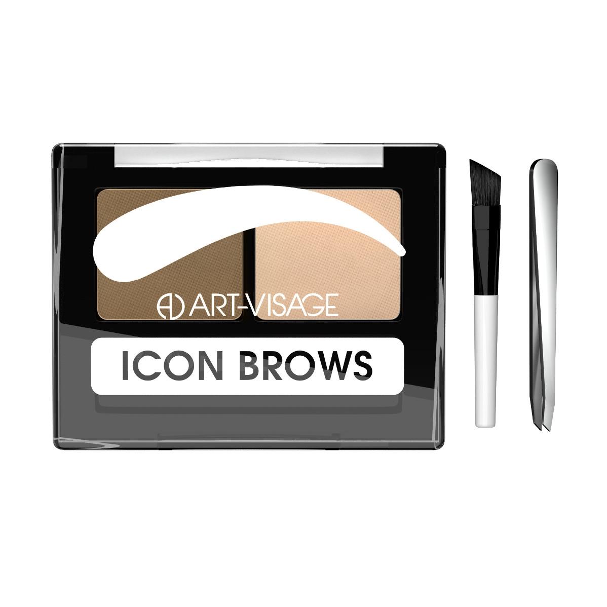 Двойные тени для бровей Art-Visage ICON BROWS с кисточкой и пинцетом 421