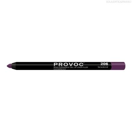 Provoc Gel Lip Liner 206 Sensational  Гелевая подводка в карандаше для губ (сливовый)