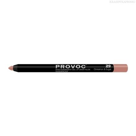 Provoc Gel Lip Liner 29 Cinnamon&Sugar Гелевая подводка в карандаше для губ (цв. беж-розовый)