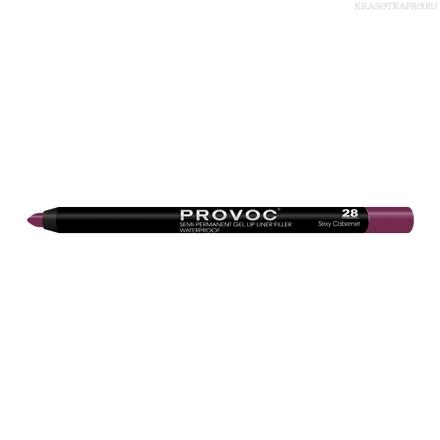 Provoc Gel Lip Liner 28 Sexy Cabernet Гелевая подводка в карандаше для губ (бархатисто-винный)