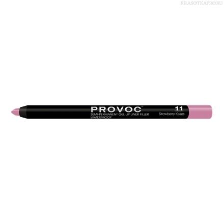 Provoc Gel Lip Liner 11 Strawberry Kisses Гелевая подводка в карандаше для губ (светлая фуксия)