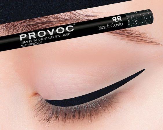Provoc Gel Eye Liner 99 Black Cavia Гелевая подводка в карандаше для глаз (цв. черный с гологр)